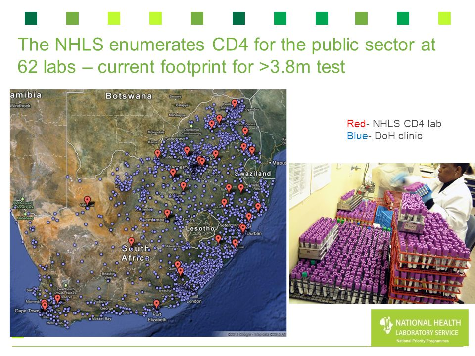 The NHLS enumerates CD4 for the public sector at 62 labs – current footprint for >3.8m test