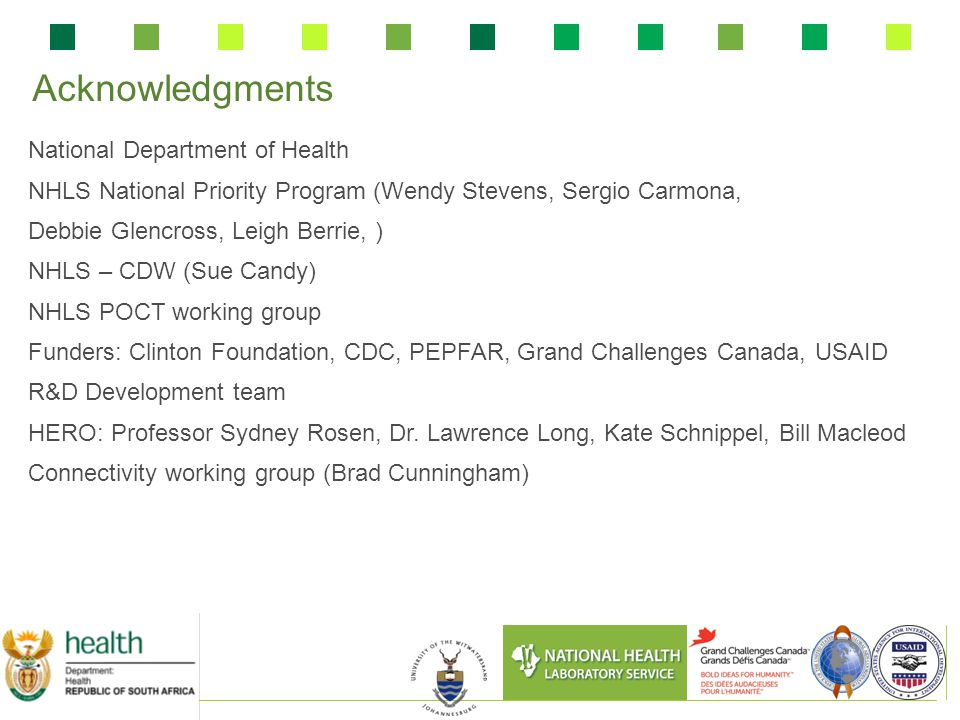 Acknowledgments National Department of Health