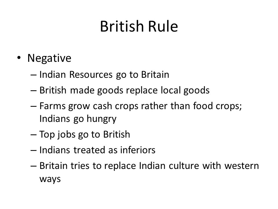 British Rule Negative Indian Resources go to Britain