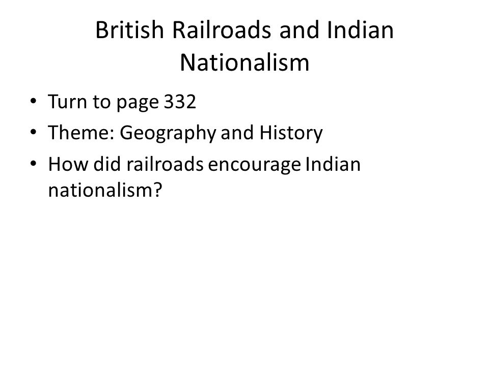 British Railroads and Indian Nationalism