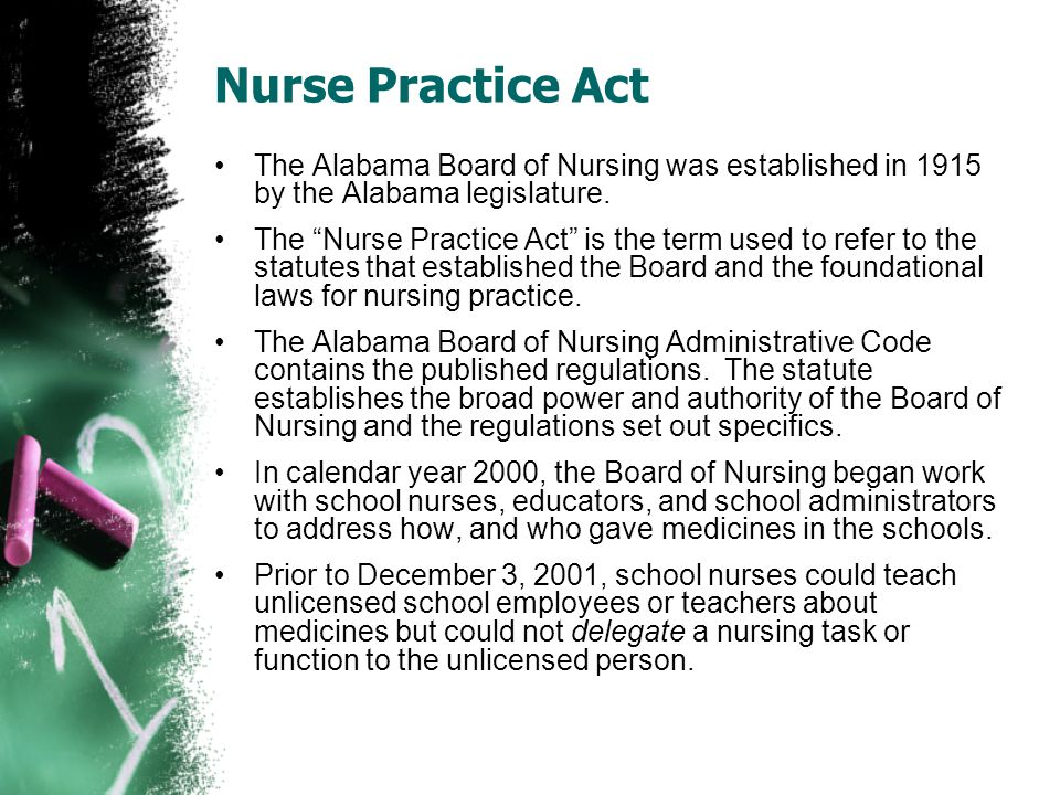 Nurse Practice Act The Alabama Board of Nursing was established in 1915 by the Alabama legislature.
