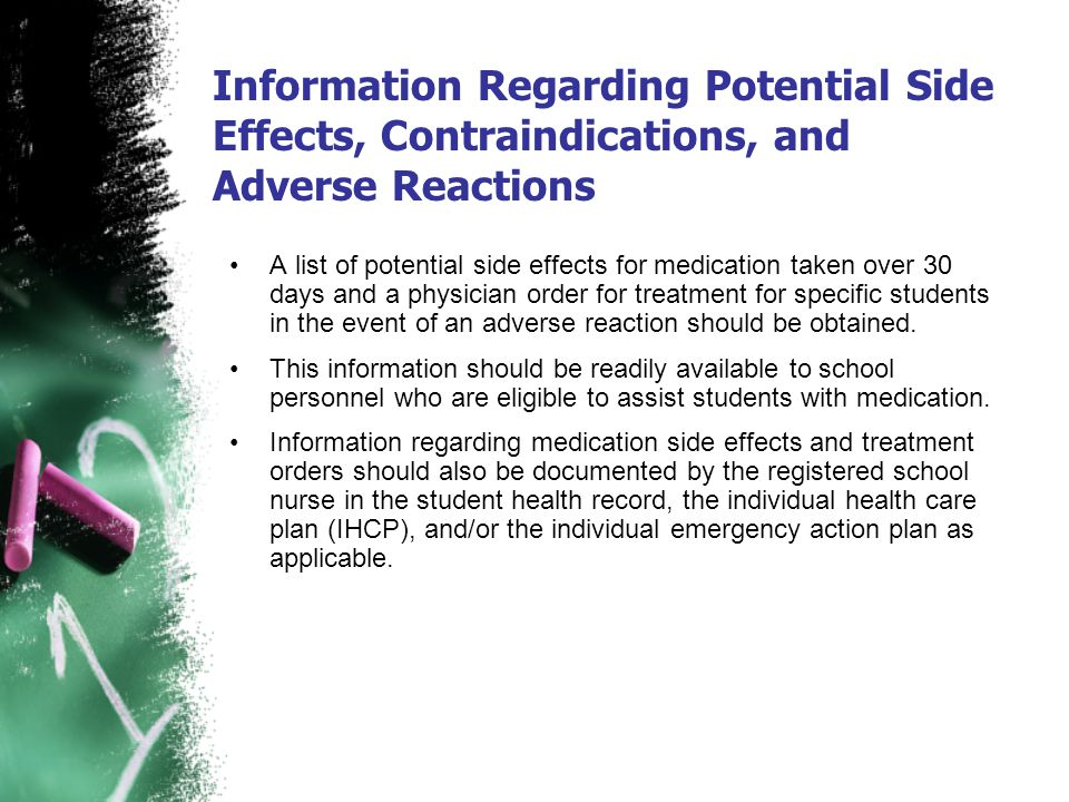 Information Regarding Potential Side Effects, Contraindications, and Adverse Reactions