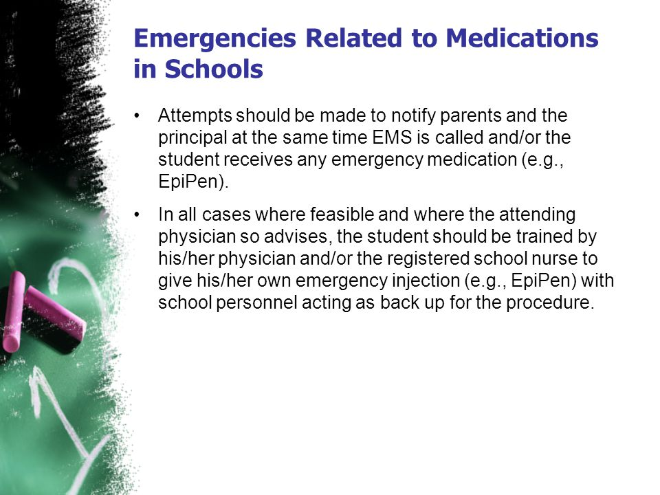 Emergencies Related to Medications in Schools