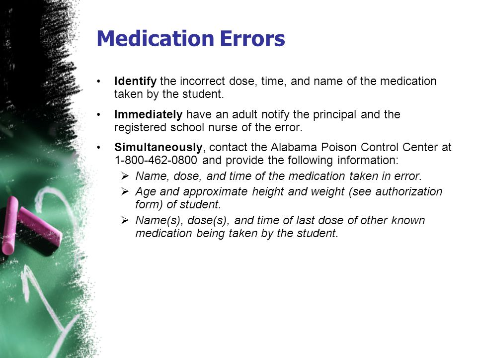 Medication Errors Identify the incorrect dose, time, and name of the medication taken by the student.