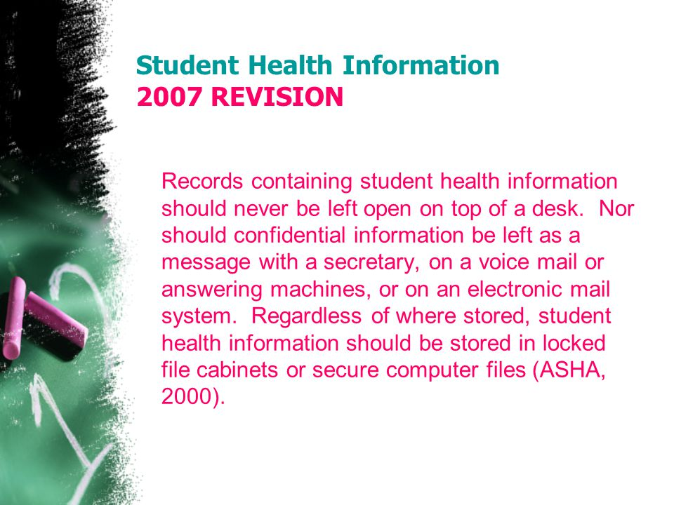 Student Health Information 2007 REVISION