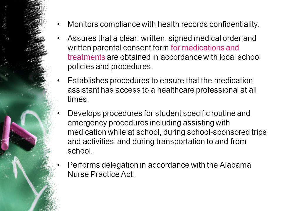 Monitors compliance with health records confidentiality.