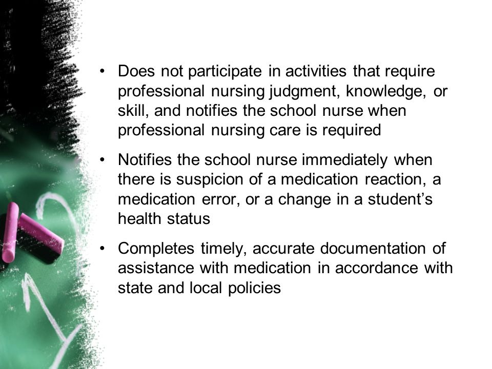 Does not participate in activities that require professional nursing judgment, knowledge, or skill, and notifies the school nurse when professional nursing care is required