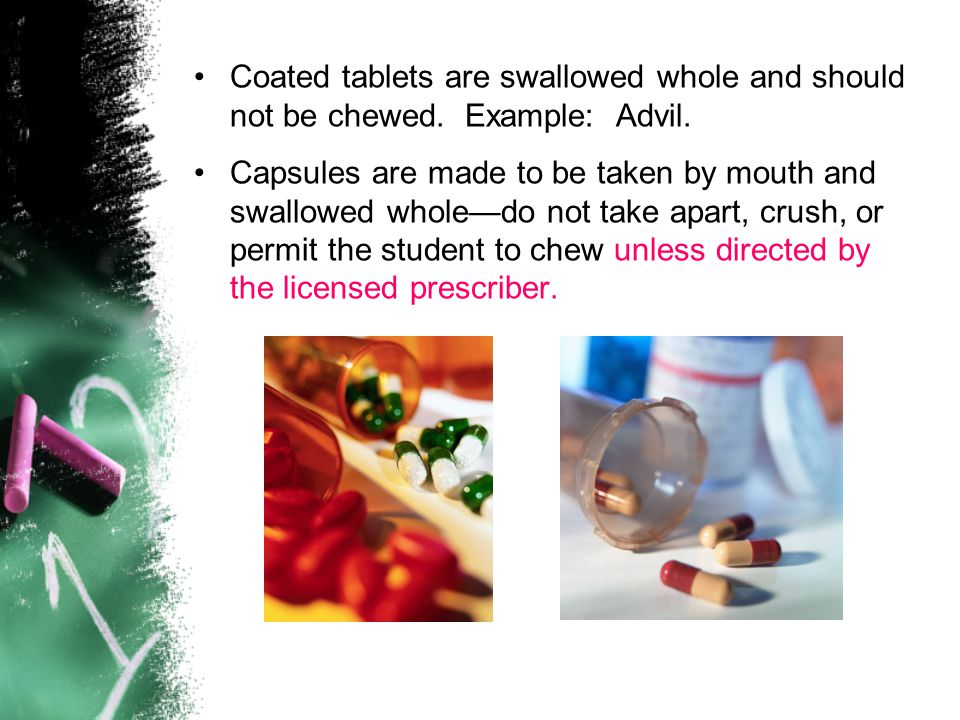 Coated tablets are swallowed whole and should not be chewed