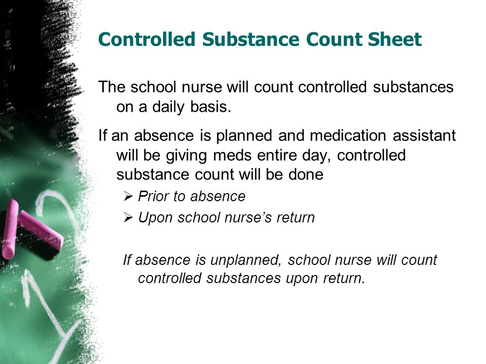 Controlled Substance Count Sheet