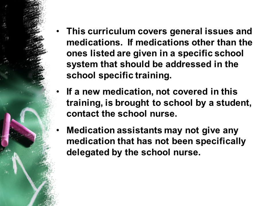 This curriculum covers general issues and medications