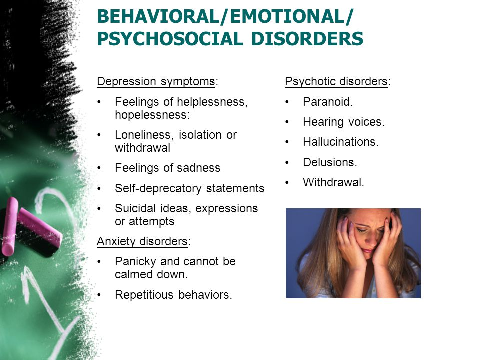 BEHAVIORAL/EMOTIONAL/ PSYCHOSOCIAL DISORDERS