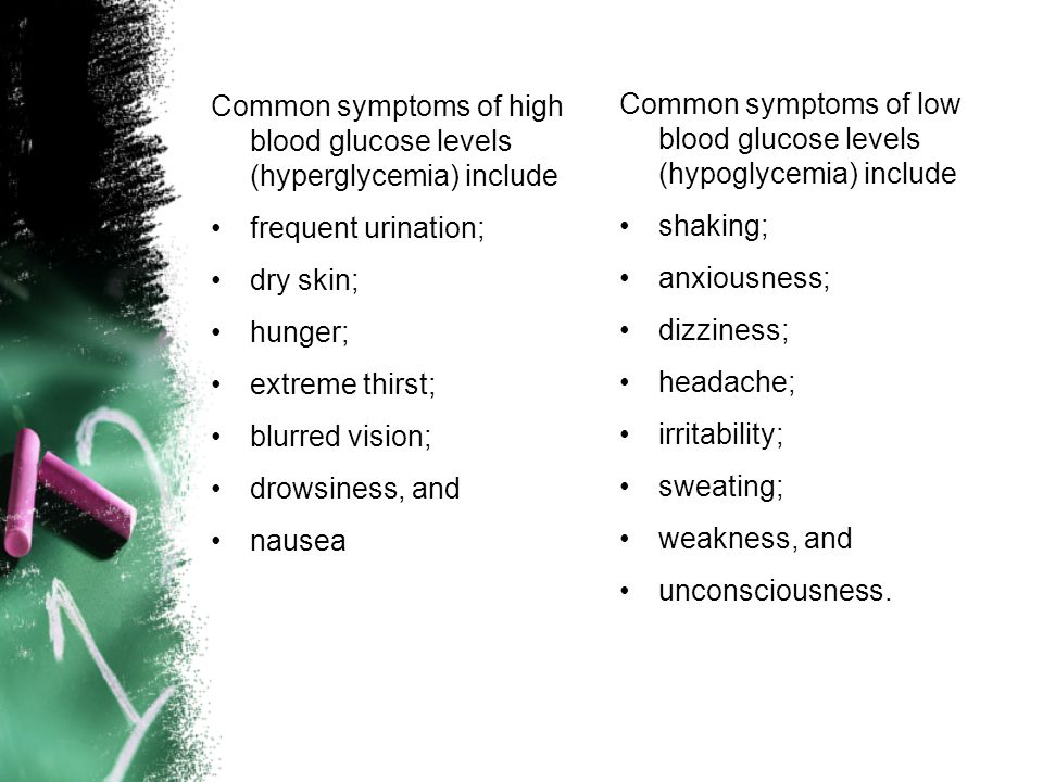 Common symptoms of high blood glucose levels (hyperglycemia) include