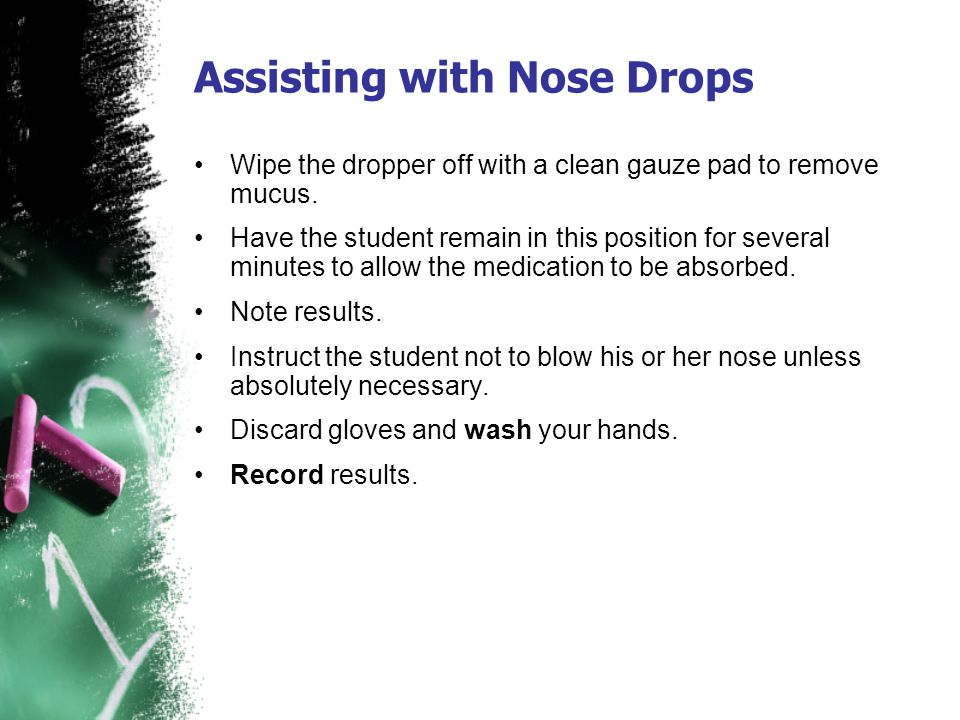 Assisting with Nose Drops