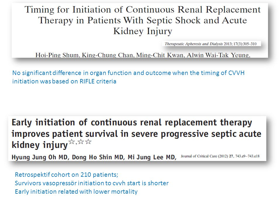No significant difference in organ function and outcome when the timing of CVVH initiation was based on RIFLE criteria