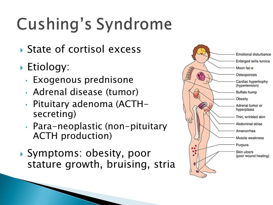 Cushing's Syndrome State of cortisol excess Etiology: