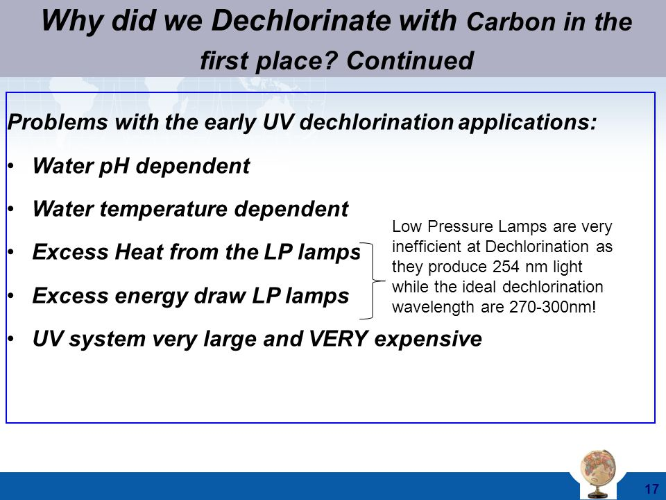 Why did we Dechlorinate with Carbon in the first place Continued