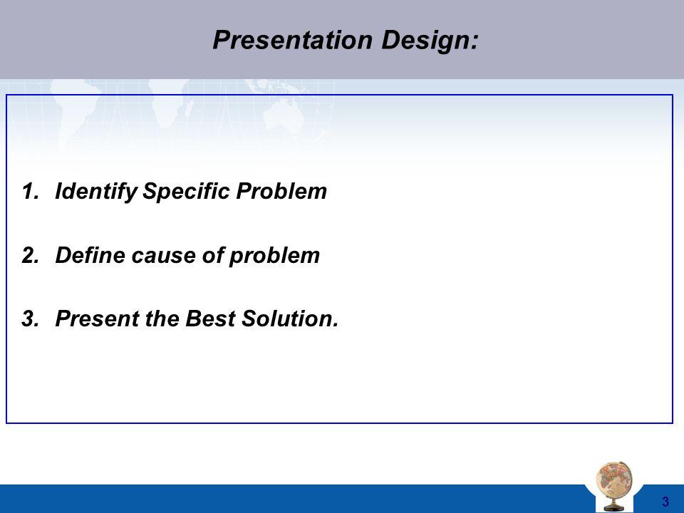Presentation Design: Identify Specific Problem Define cause of problem