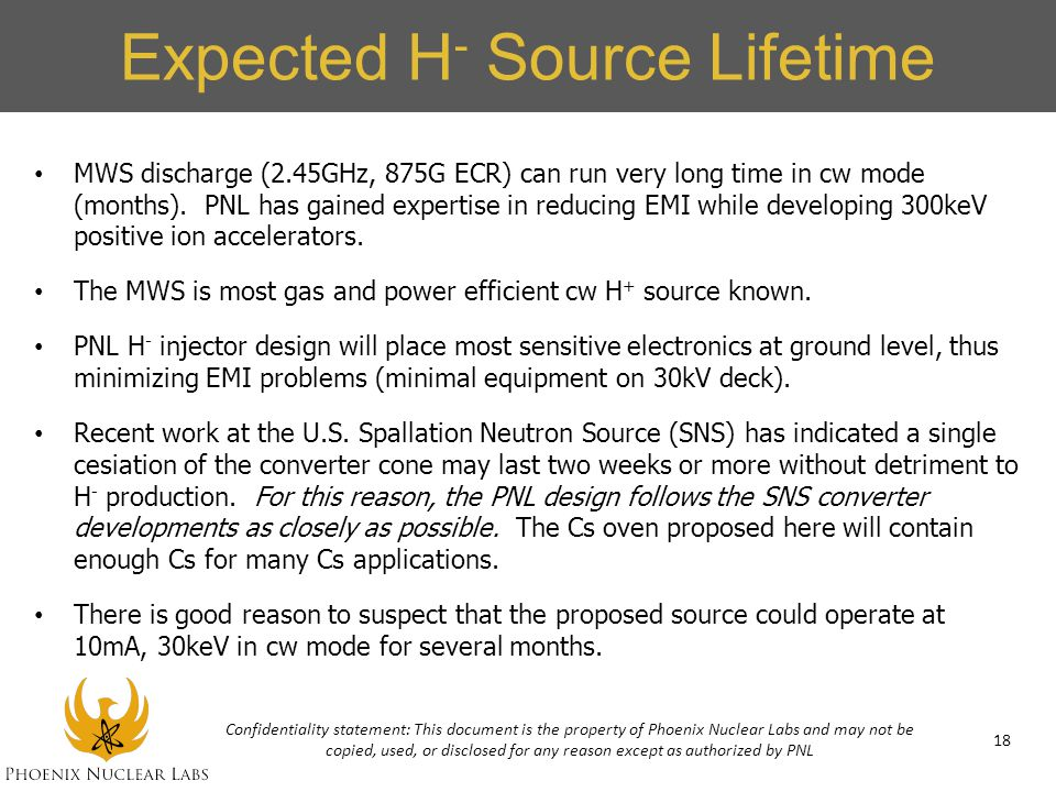 Expected H- Source Lifetime
