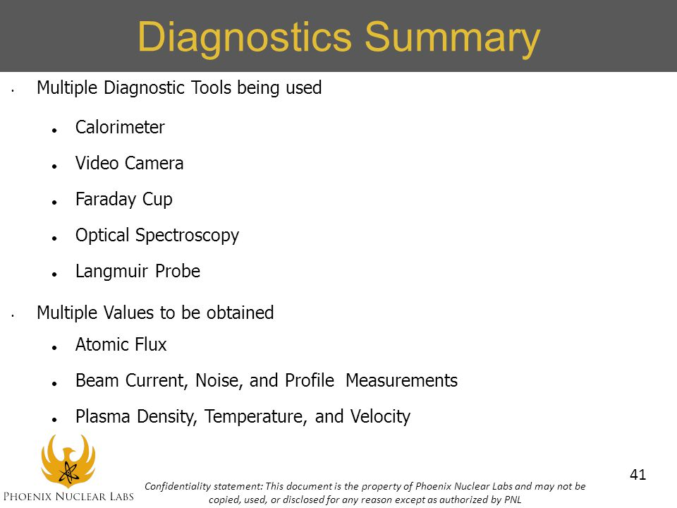 Diagnostics Summary Multiple Diagnostic Tools being used Calorimeter
