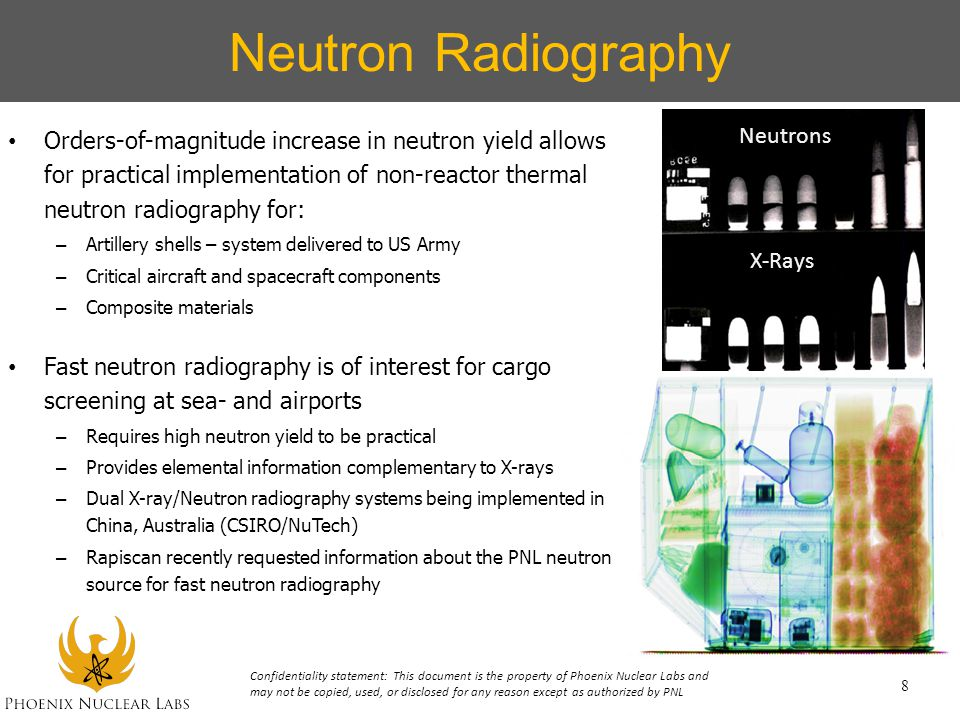Neutron Radiography Orders-of-magnitude increase in neutron yield allows for practical implementation of non-reactor thermal neutron radiography for: