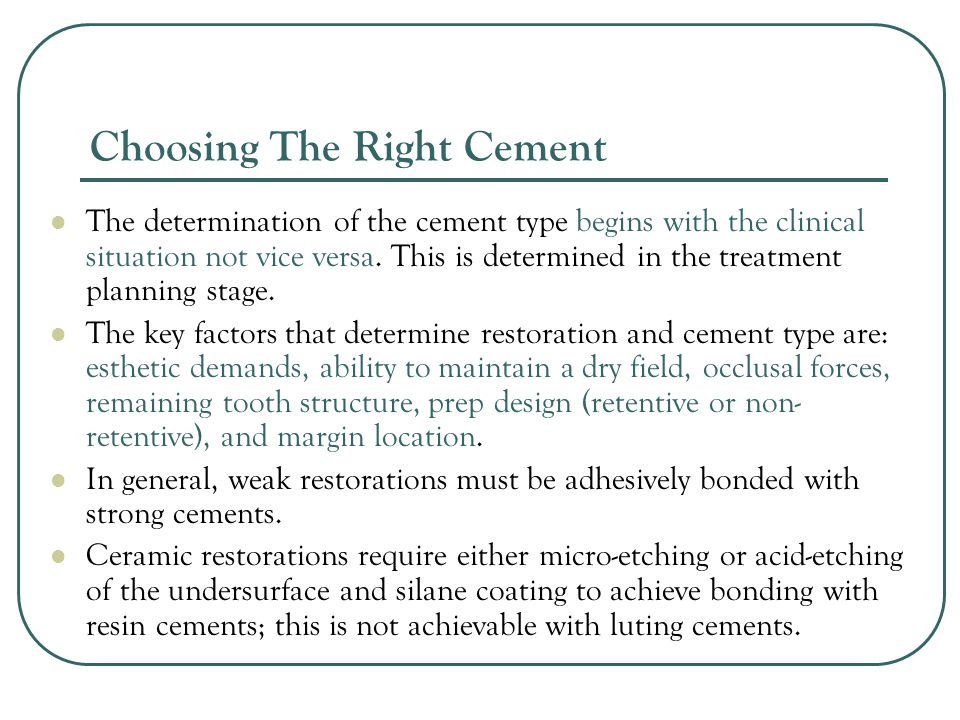 Choosing The Right Cement