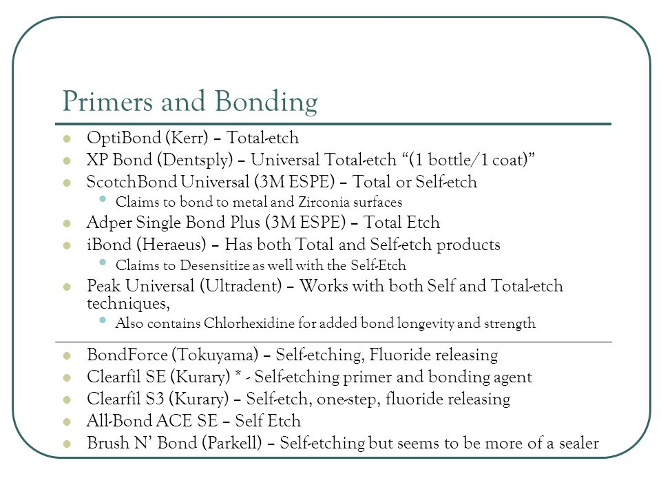 Primers and Bonding OptiBond (Kerr) – Total-etch