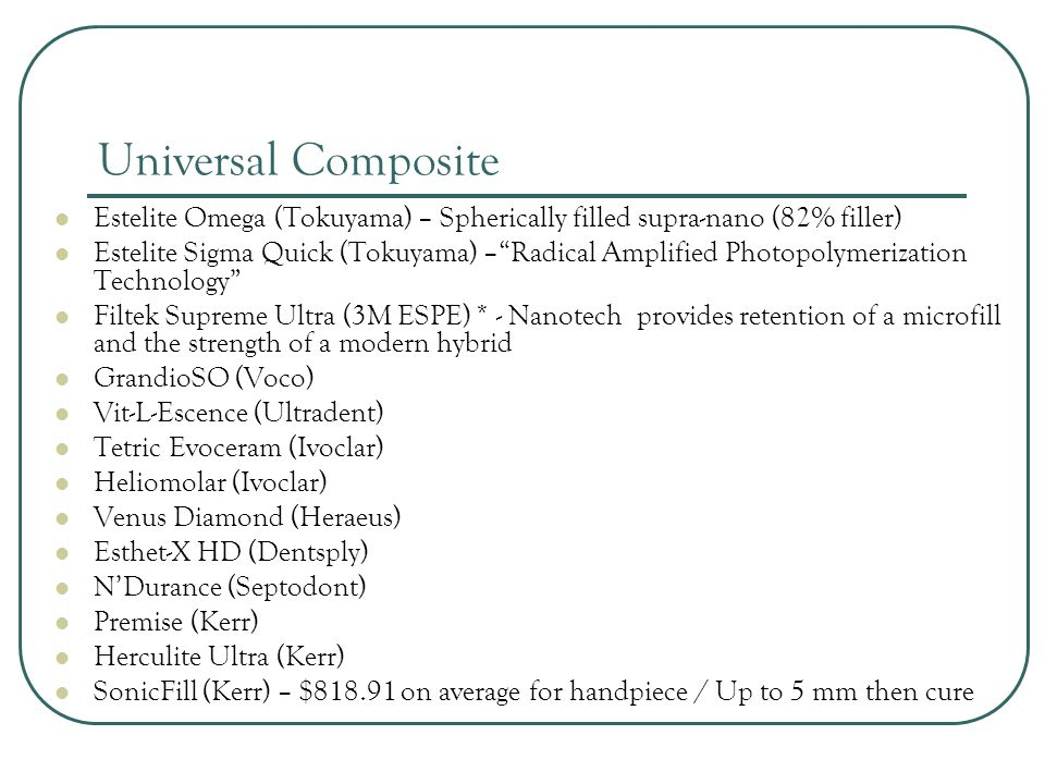Universal Composite Estelite Omega (Tokuyama) – Spherically filled supra-nano (82% filler)