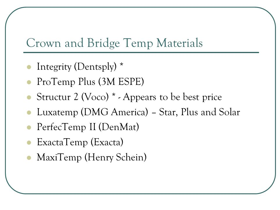 Crown and Bridge Temp Materials