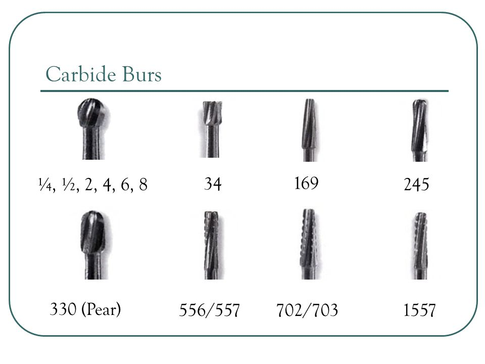 Carbide Burs ¼, ½, 2, 4, 6, (Pear) 556/ /703