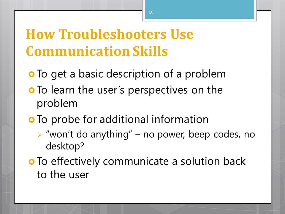 How Troubleshooters Use Communication Skills
