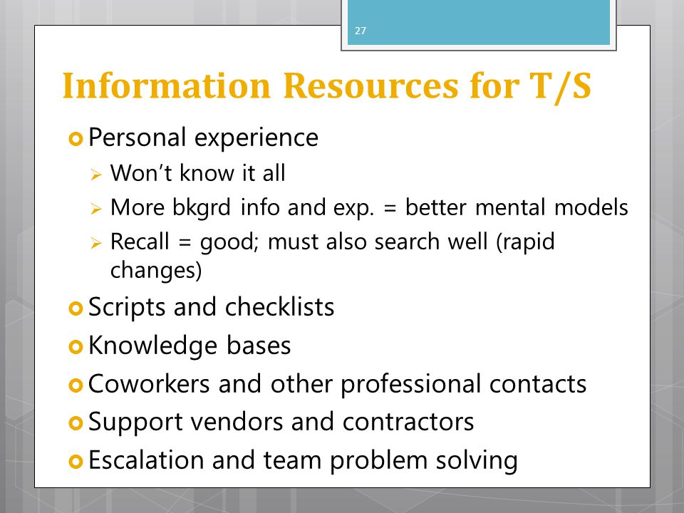 Information Resources for T/S