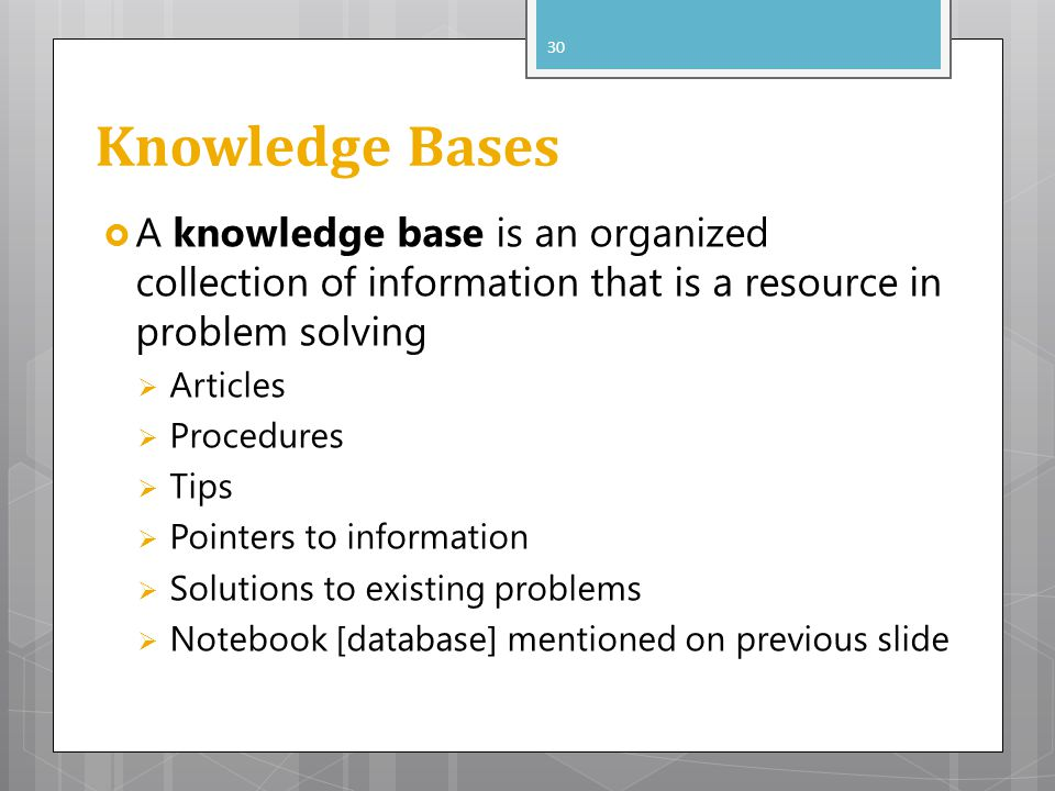 Knowledge Bases A knowledge base is an organized collection of information that is a resource in problem solving.