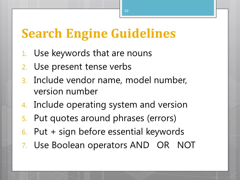 Search Engine Guidelines