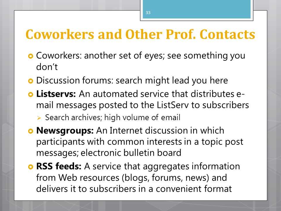 Coworkers and Other Prof. Contacts