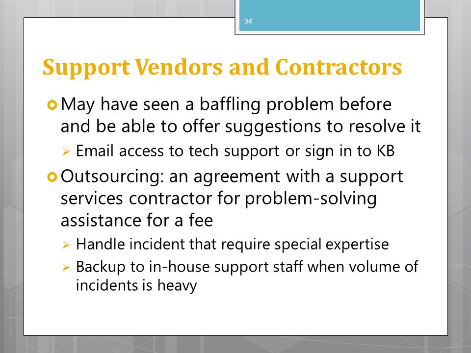 Support Vendors and Contractors