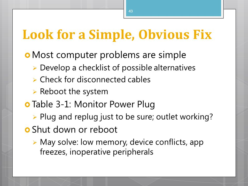 Look for a Simple, Obvious Fix
