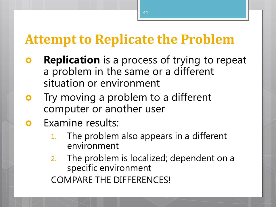 Attempt to Replicate the Problem
