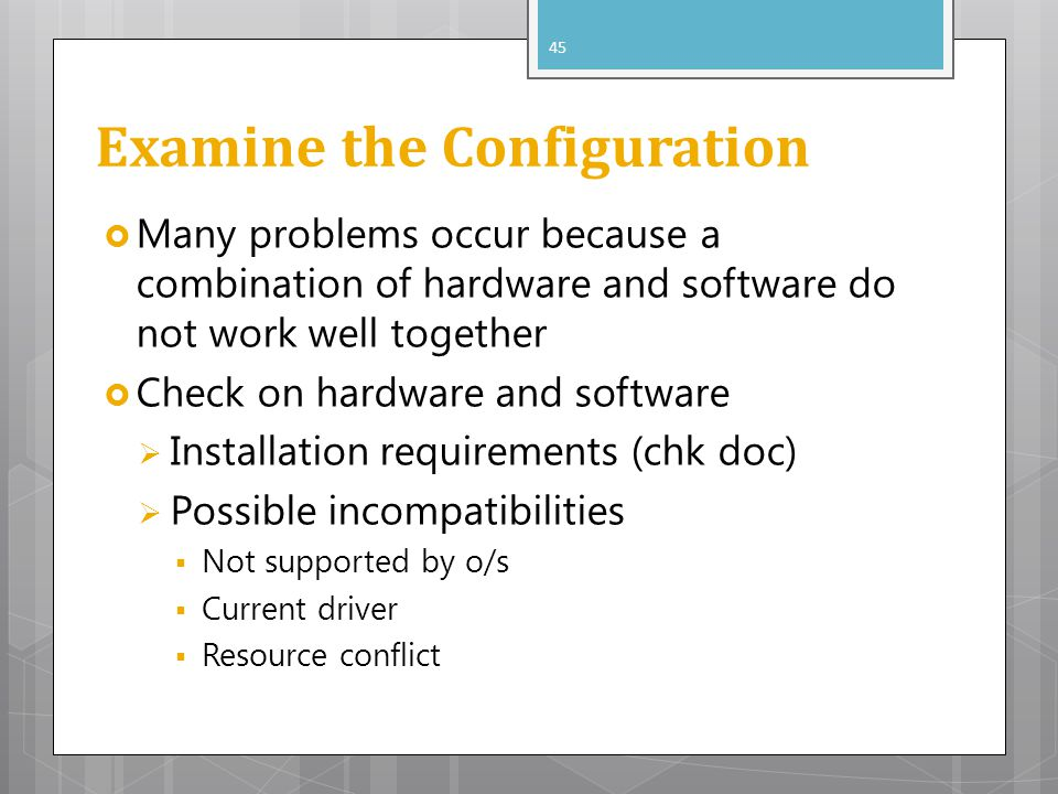 Examine the Configuration