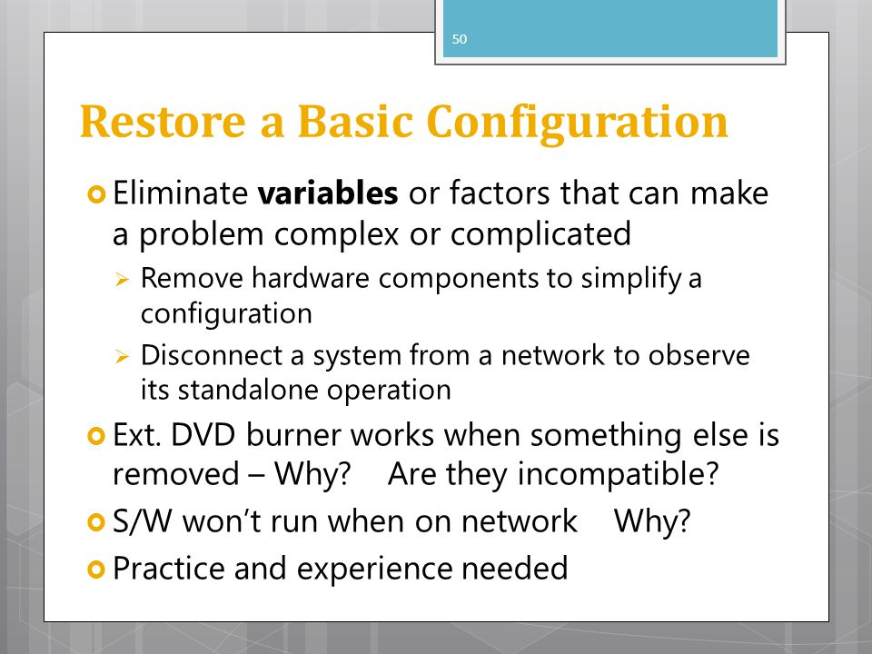 Restore a Basic Configuration
