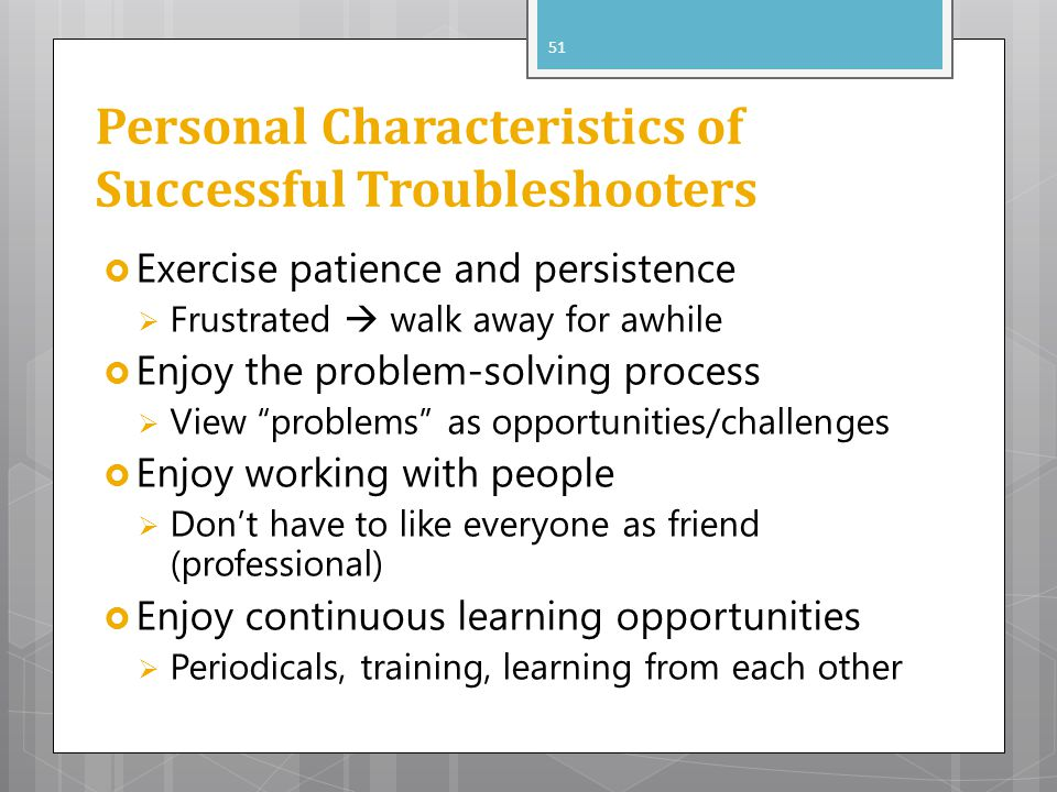 Personal Characteristics of Successful Troubleshooters
