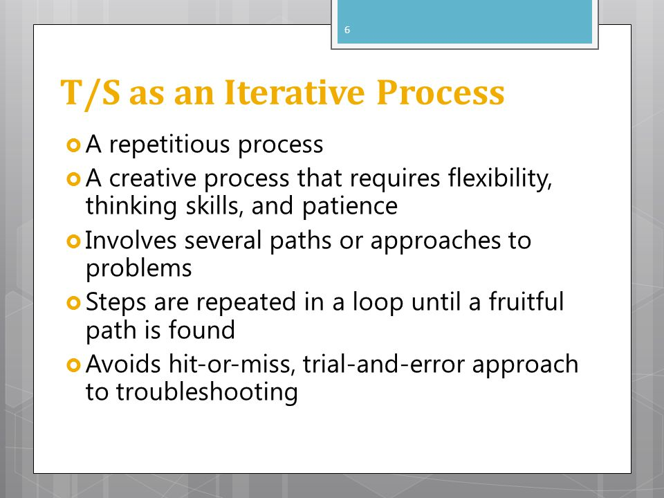 T/S as an Iterative Process