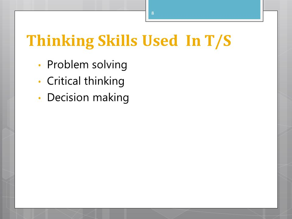 Thinking Skills Used In T/S