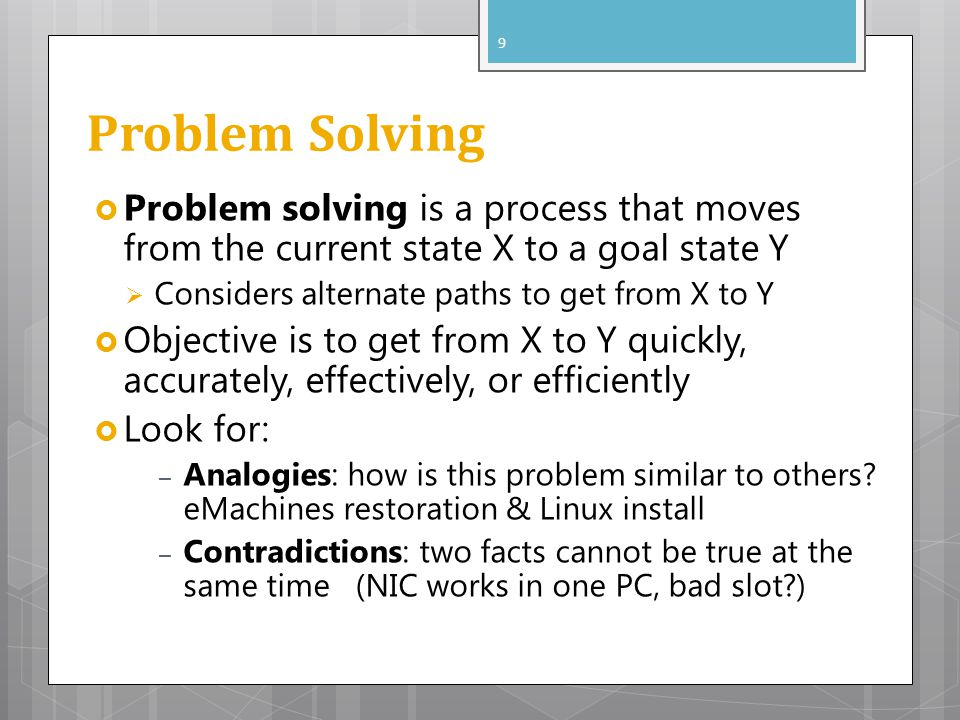 Problem Solving Problem solving is a process that moves from the current state X to a goal state Y.