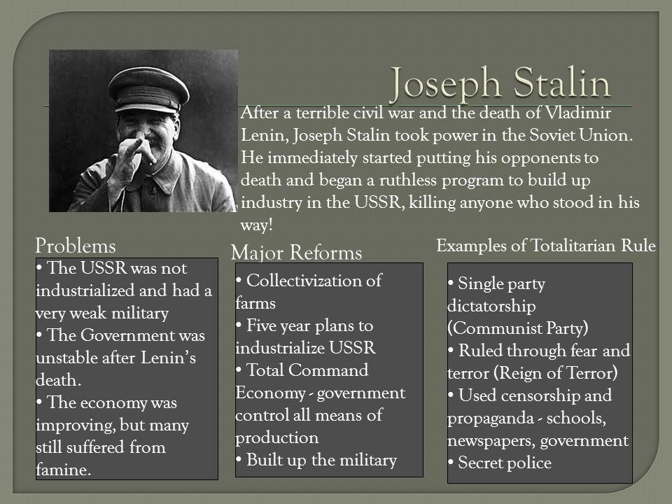 Joseph Stalin Problems Major Reforms