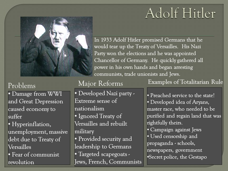 Adolf Hitler Major Reforms Problems Examples of Totalitarian Rule