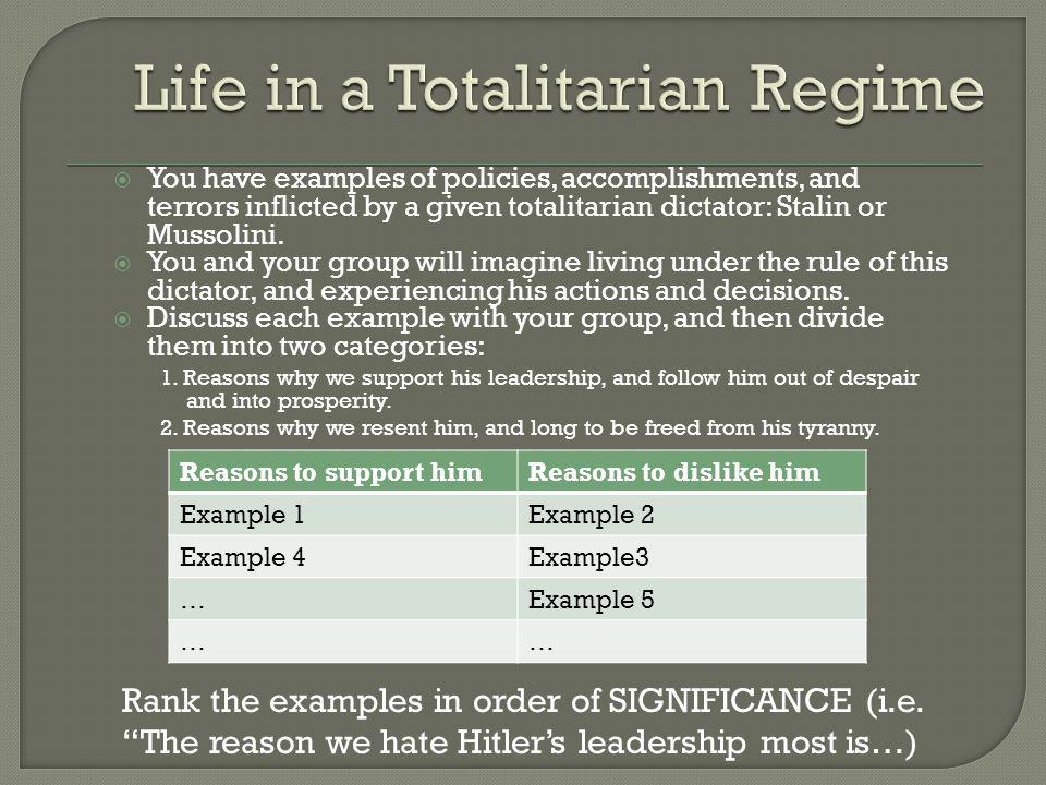 Life in a Totalitarian Regime