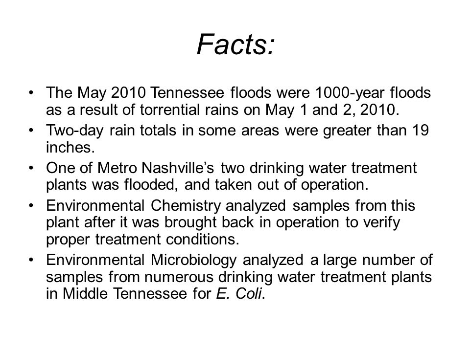 Facts: The May 2010 Tennessee floods were 1000-year floods as a result of torrential rains on May 1 and 2, 2010.