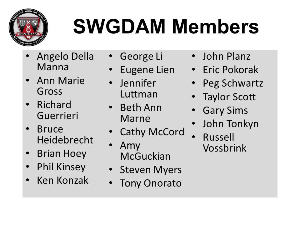 SWGDAM Members Angelo Della Manna George Li John Planz Eugene Lien
