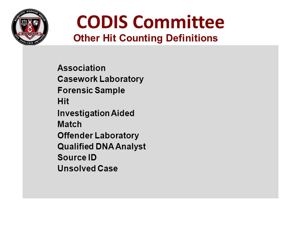 CODIS Committee Other Hit Counting Definitions Association