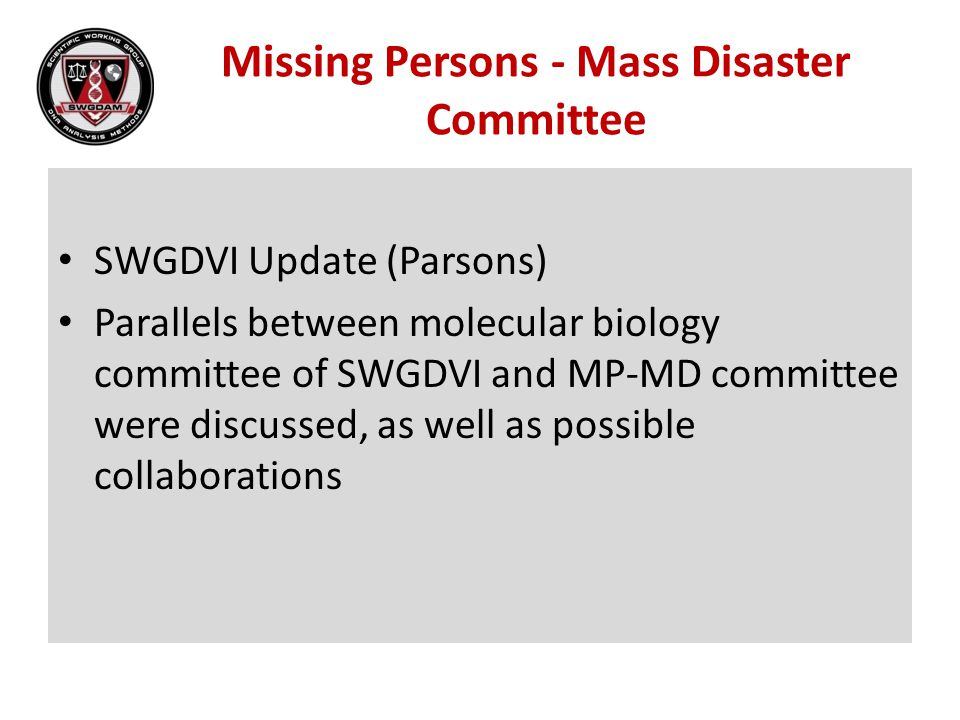 Missing Persons - Mass Disaster Committee